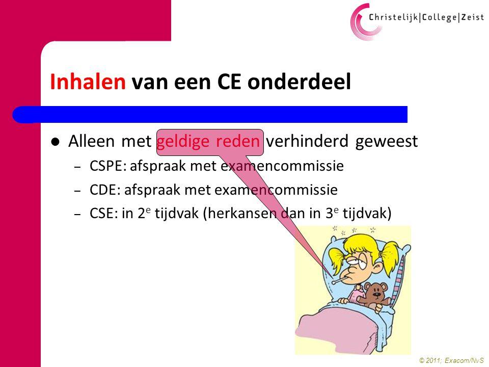 © 2011; Exacom/NvS Inhalen van een CE onderdeel Alleen met geldige reden verhinderd geweest – CSPE: afspraak met examencommissie – CDE: afspraak met e