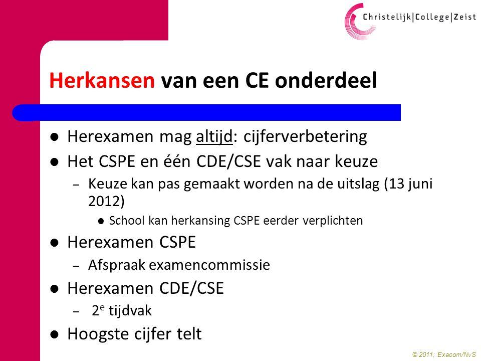 © 2011; Exacom/NvS Herkansen van een CE onderdeel Herexamen mag altijd: cijferverbetering Het CSPE en één CDE/CSE vak naar keuze – Keuze kan pas gemaa