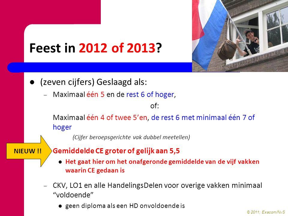 © 2011; Exacom/NvS Feest in 2012 of 2013? (zeven cijfers) Geslaagd als: – Maximaal één 5 en de rest 6 of hoger, of: Maximaal één 4 of twee 5'en, de re