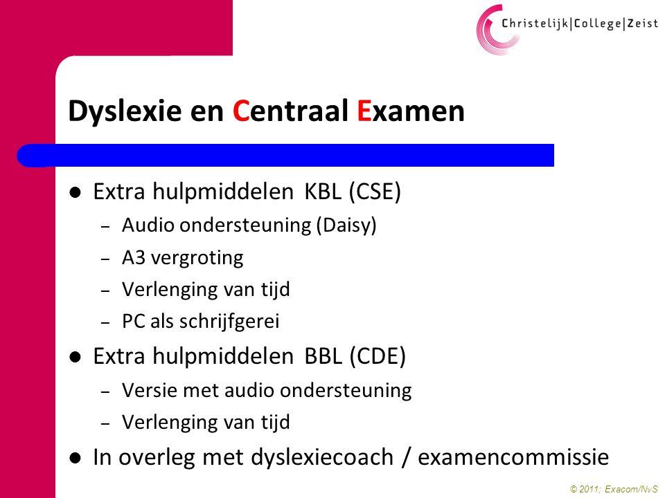 © 2011; Exacom/NvS Dyslexie en Centraal Examen Extra hulpmiddelen KBL (CSE) – Audio ondersteuning (Daisy) – A3 vergroting – Verlenging van tijd – PC a