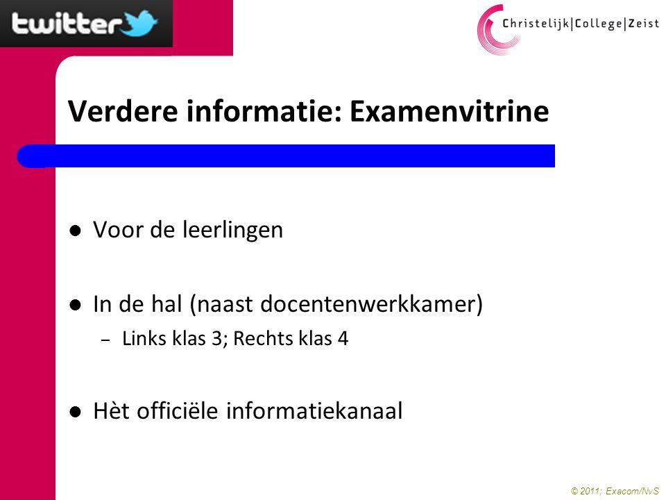 © 2011; Exacom/NvS Verdere informatie: Examenvitrine Voor de leerlingen In de hal (naast docentenwerkkamer) – Links klas 3; Rechts klas 4 Hèt officiël