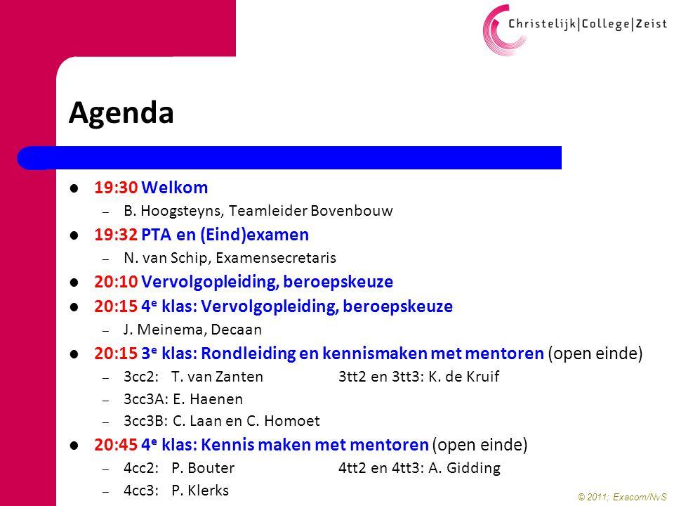 © 2011; Exacom/NvS Agenda 19:30 Welkom – B. Hoogsteyns, Teamleider Bovenbouw 19:32 PTA en (Eind)examen – N. van Schip, Examensecretaris 20:10 Vervolgo