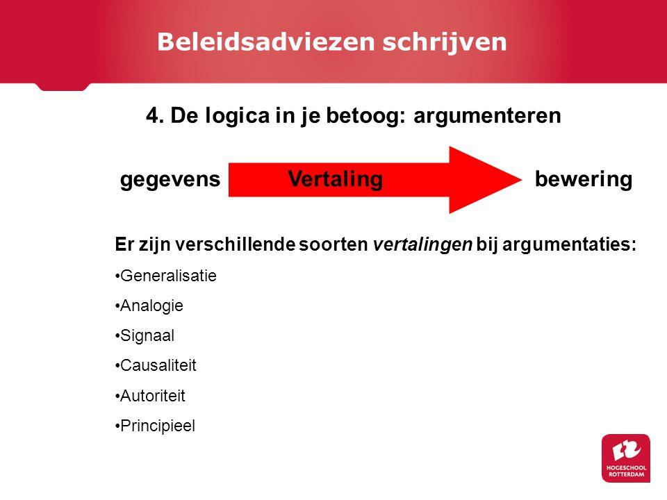gegevensbeweringVertaling Er zijn verschillende soorten vertalingen bij argumentaties: Generalisatie Analogie Signaal Causaliteit Autoriteit Principieel 4.
