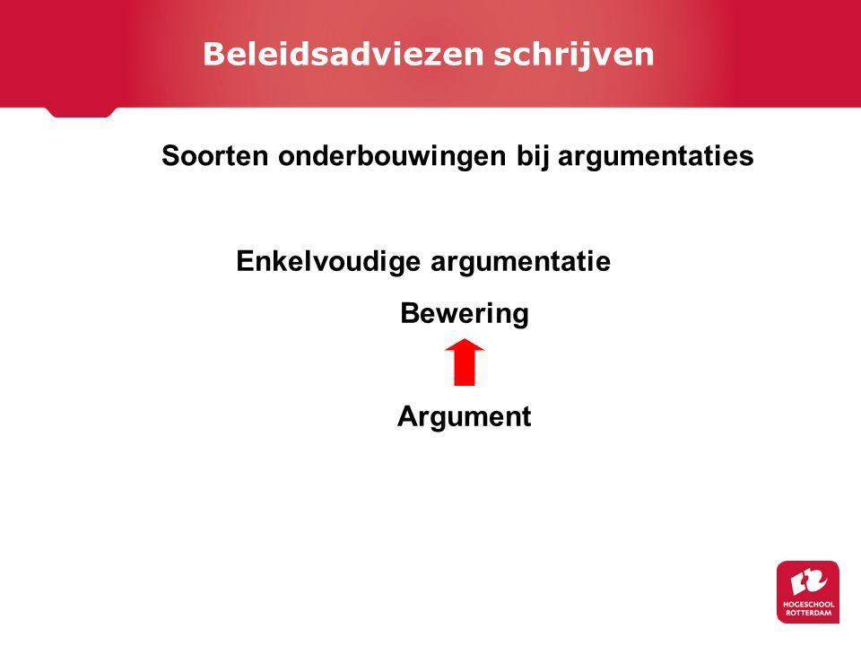 Soorten onderbouwingen bij argumentaties Enkelvoudige argumentatie Bewering Argument Beleidsadviezen schrijven