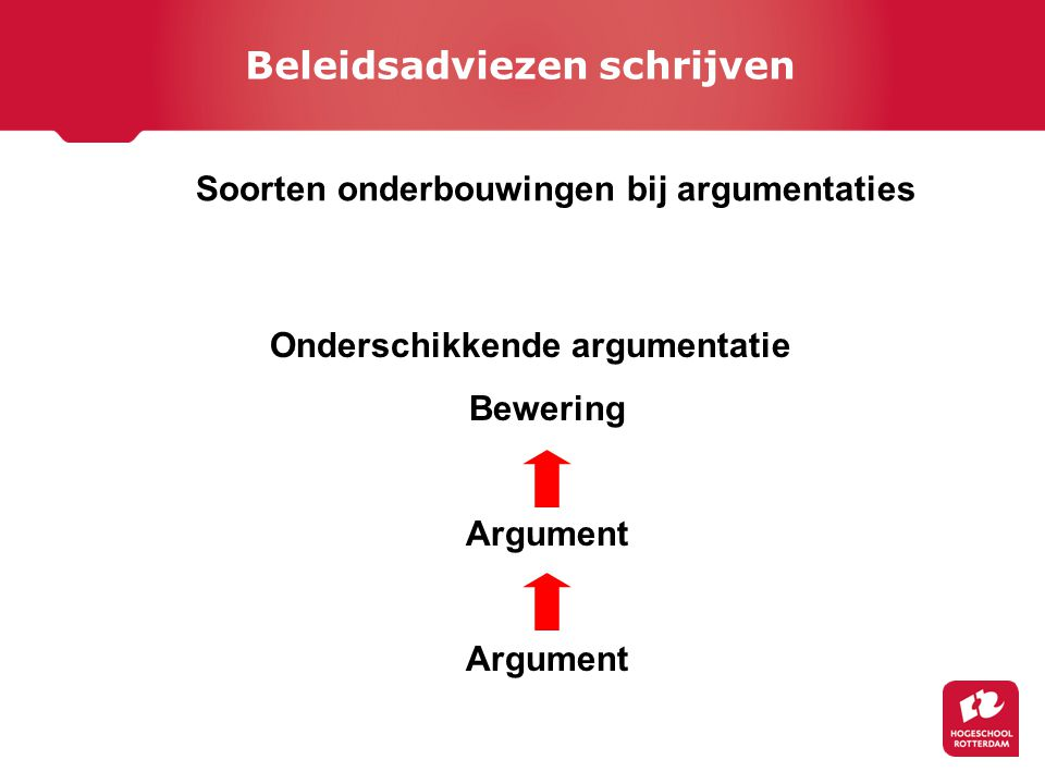 Soorten onderbouwingen bij argumentaties Onderschikkende argumentatie Bewering Argument Argument Beleidsadviezen schrijven