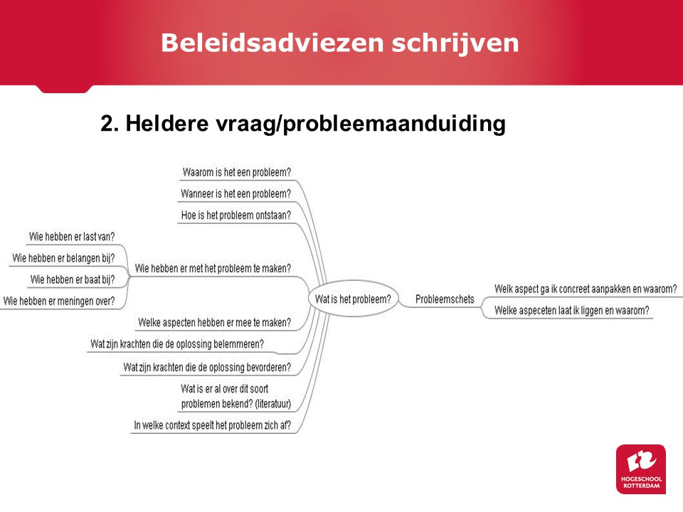 2. Heldere vraag/probleemaanduiding Beleidsadviezen schrijven