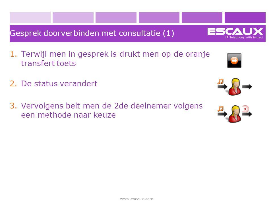 www.escaux.com Gesprek doorverbinden met consultatie (1) 1.Terwijl men in gesprek is drukt men op de oranje transfert toets 2.De status verandert 3.Ve