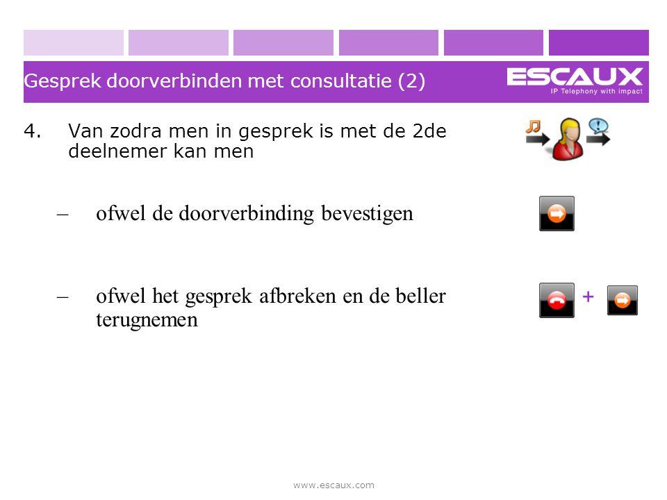 www.escaux.com Gesprek doorverbinden met consultatie (2) 4.Van zodra men in gesprek is met de 2de deelnemer kan men –ofwel de doorverbinding bevestige