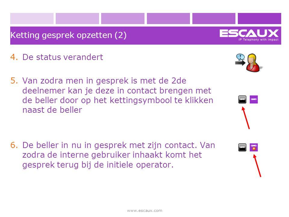www.escaux.com Ketting gesprek opzetten (2) 4.De status verandert 5.Van zodra men in gesprek is met de 2de deelnemer kan je deze in contact brengen me