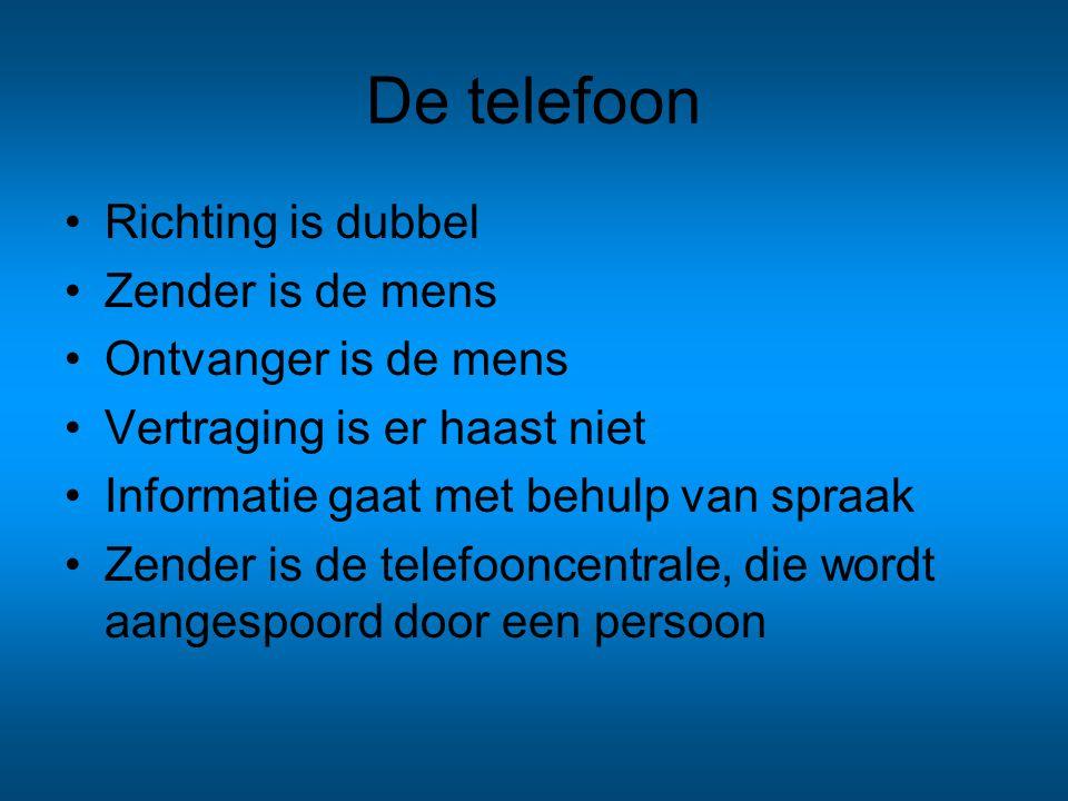 De telefoon Richting is dubbel Zender is de mens Ontvanger is de mens Vertraging is er haast niet Informatie gaat met behulp van spraak Zender is de t
