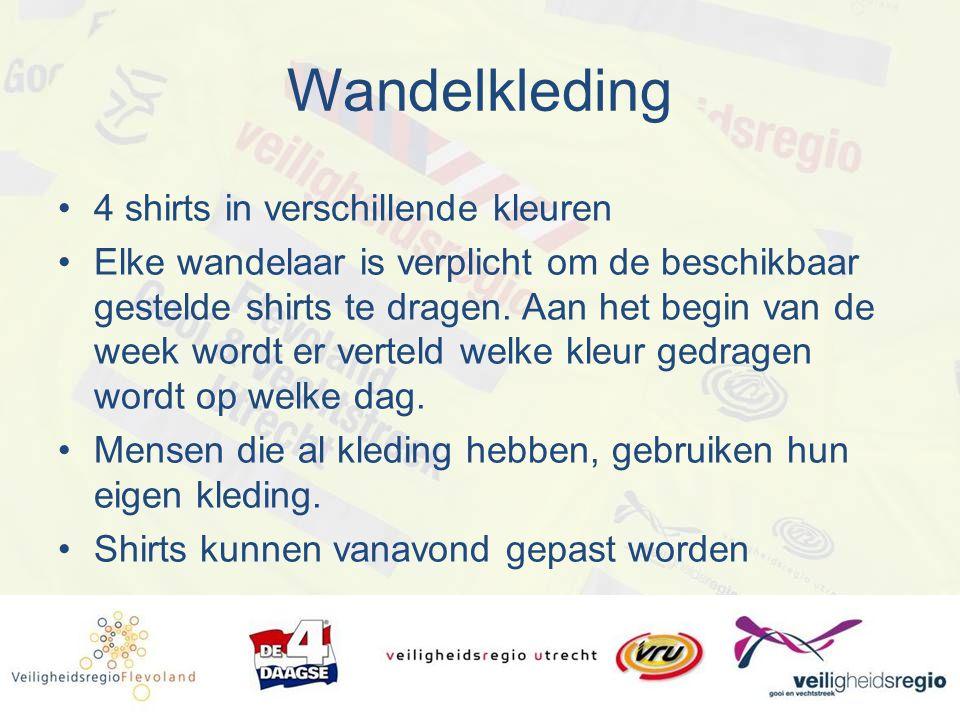 Wandelkleding 4 shirts in verschillende kleuren Elke wandelaar is verplicht om de beschikbaar gestelde shirts te dragen. Aan het begin van de week wor