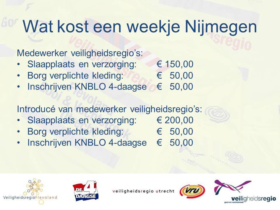 Wat kost een weekje Nijmegen Medewerker veiligheidsregio's: Slaapplaats en verzorging:€ 150,00 Borg verplichte kleding:€ 50,00 Inschrijven KNBLO 4-daa