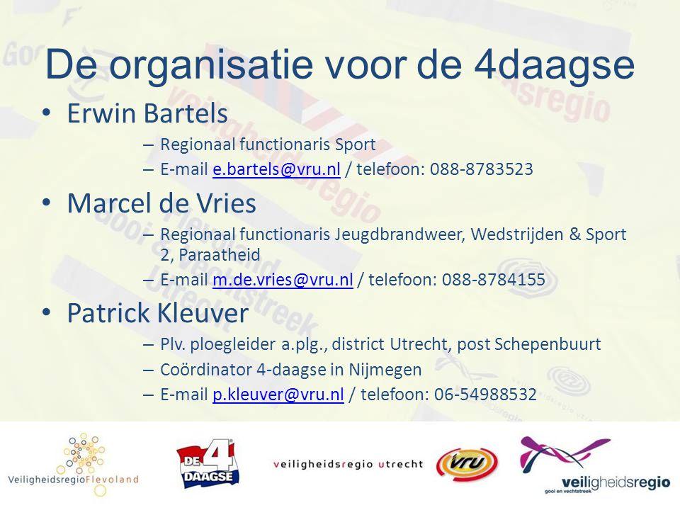 De organisatie voor de 4daagse Erwin Bartels – Regionaal functionaris Sport – E-mail e.bartels@vru.nl / telefoon: 088-8783523e.bartels@vru.nl Marcel d