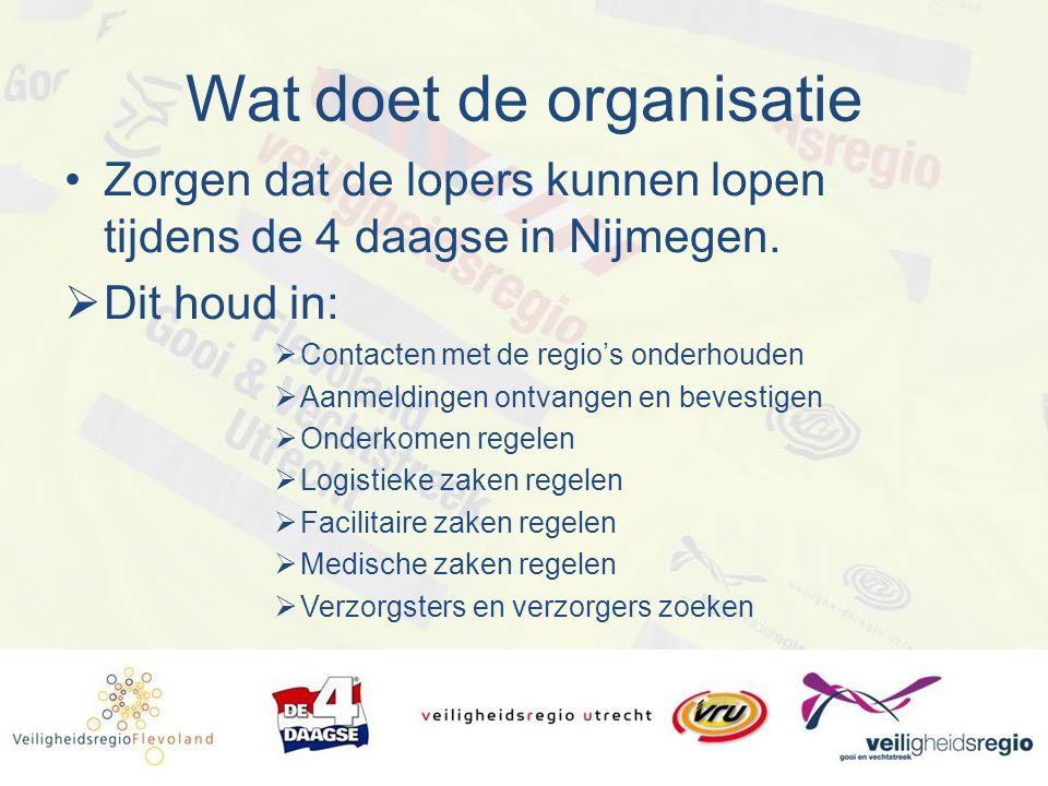 Wat doet de organisatie Zorgen dat de lopers kunnen lopen tijdens de 4 daagse in Nijmegen.  Dit houd in:  Contacten met de regio's onderhouden  Aan