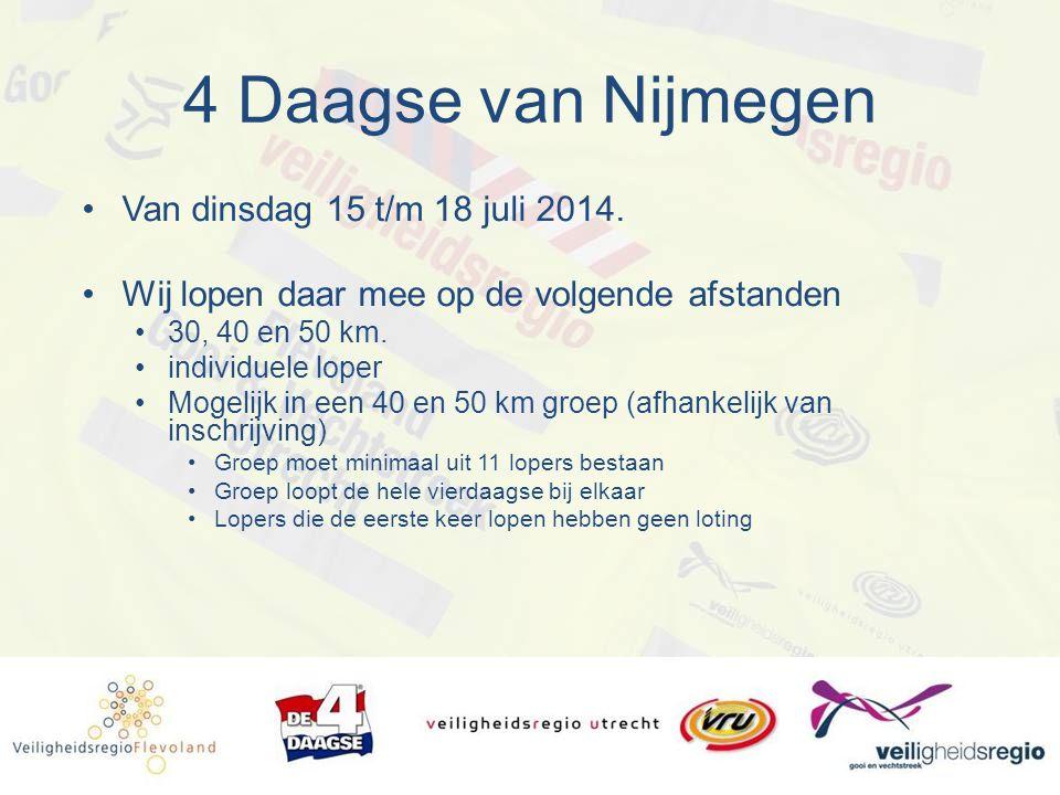 4 Daagse van Nijmegen Van dinsdag 15 t/m 18 juli 2014. Wij lopen daar mee op de volgende afstanden 30, 40 en 50 km. individuele loper Mogelijk in een