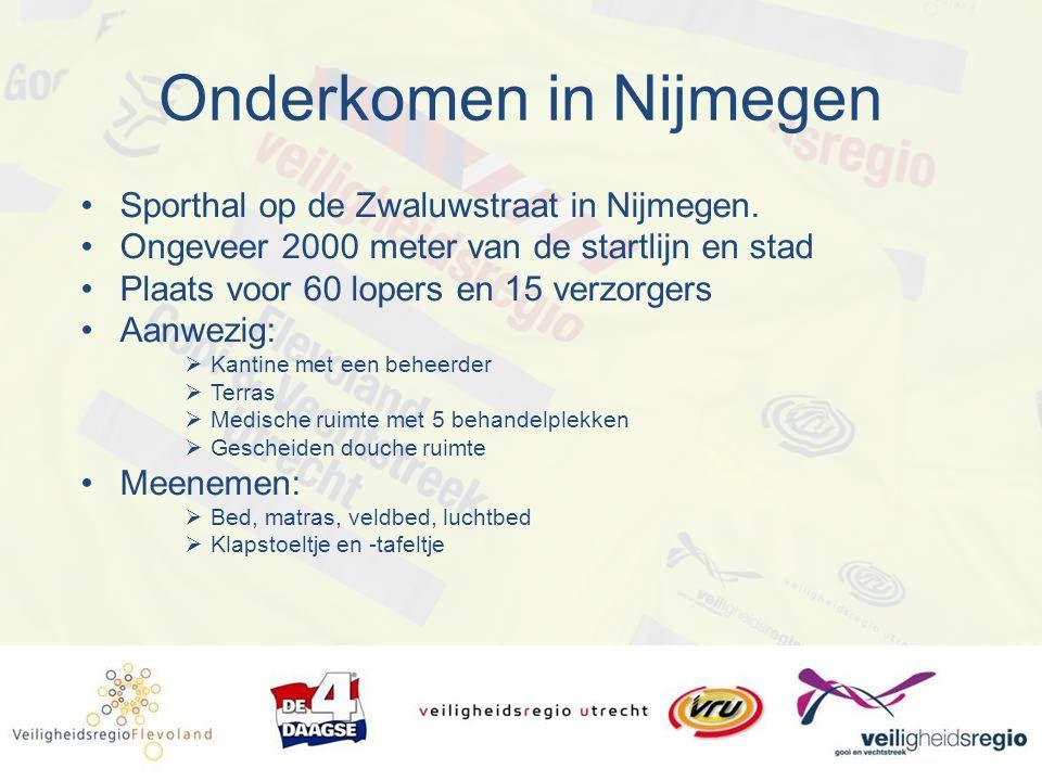 Onderkomen in Nijmegen Sporthal op de Zwaluwstraat in Nijmegen. Ongeveer 2000 meter van de startlijn en stad Plaats voor 60 lopers en 15 verzorgers Aa