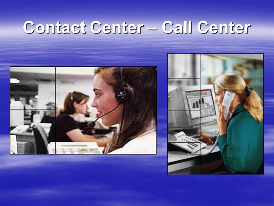 Inhoud 1.Call Center 2. Contact Center 3.