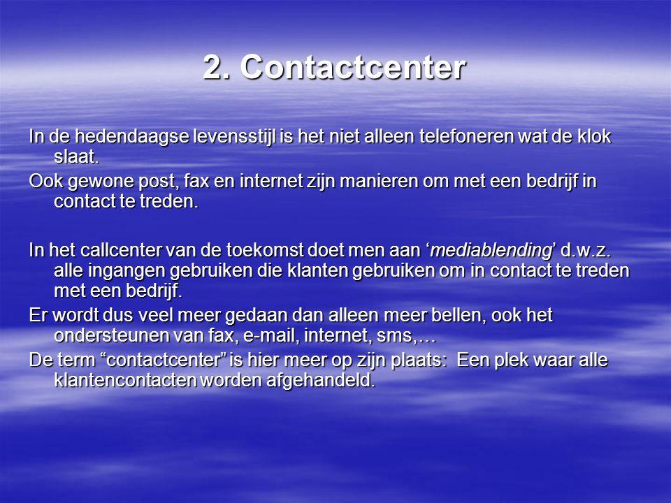 2.Contactcenter In de hedendaagse levensstijl is het niet alleen telefoneren wat de klok slaat.