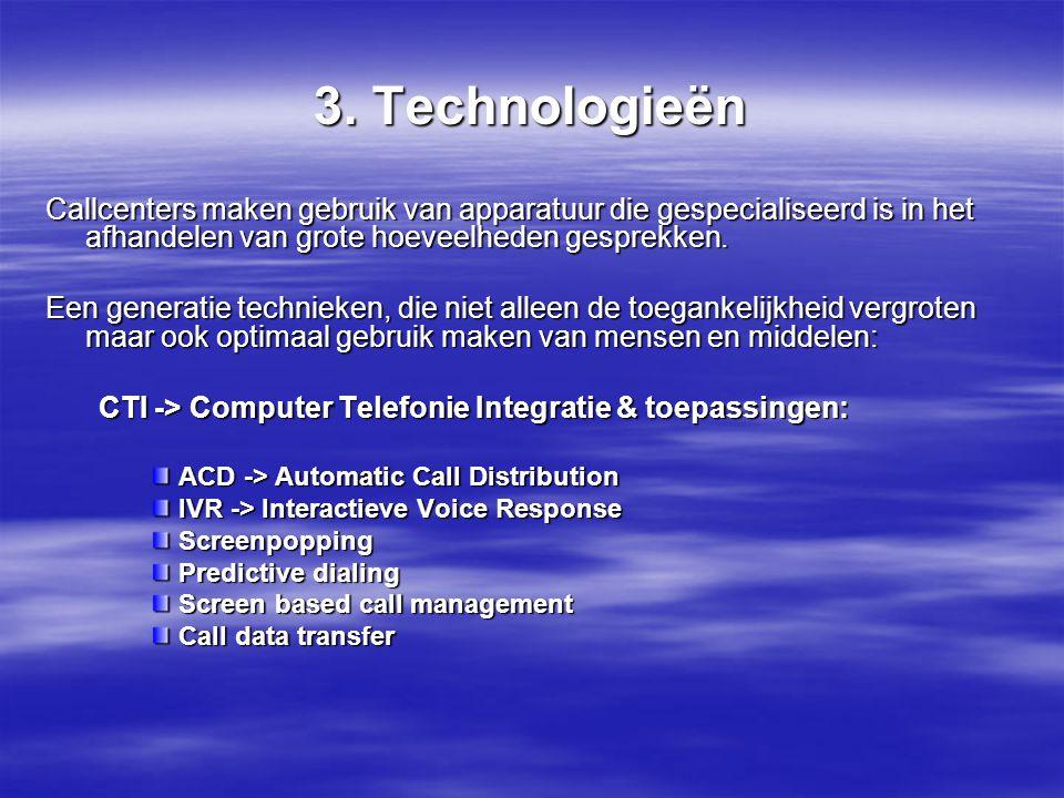 3. Technologieën Na het gesprek noteert men in het kort waarover het gesprek ging. Popups