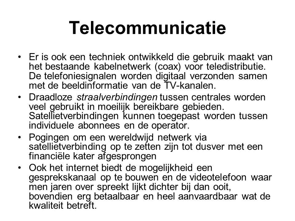 Telecommunicatie Er is ook een techniek ontwikkeld die gebruik maakt van het bestaande kabelnetwerk (coax) voor teledistributie. De telefoniesignalen