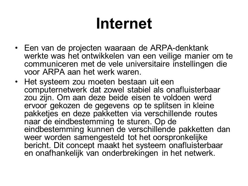 Internet Een van de projecten waaraan de ARPA-denktank werkte was het ontwikkelen van een veilige manier om te communiceren met de vele universitaire