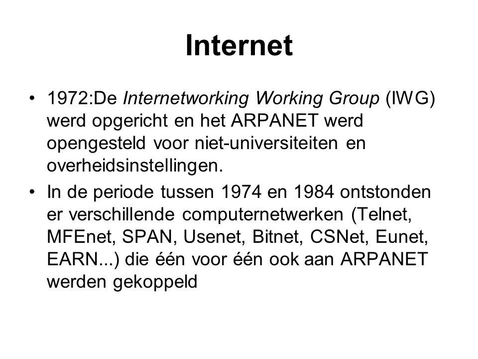 Internet 1972:De Internetworking Working Group (IWG) werd opgericht en het ARPANET werd opengesteld voor niet-universiteiten en overheidsinstellingen.