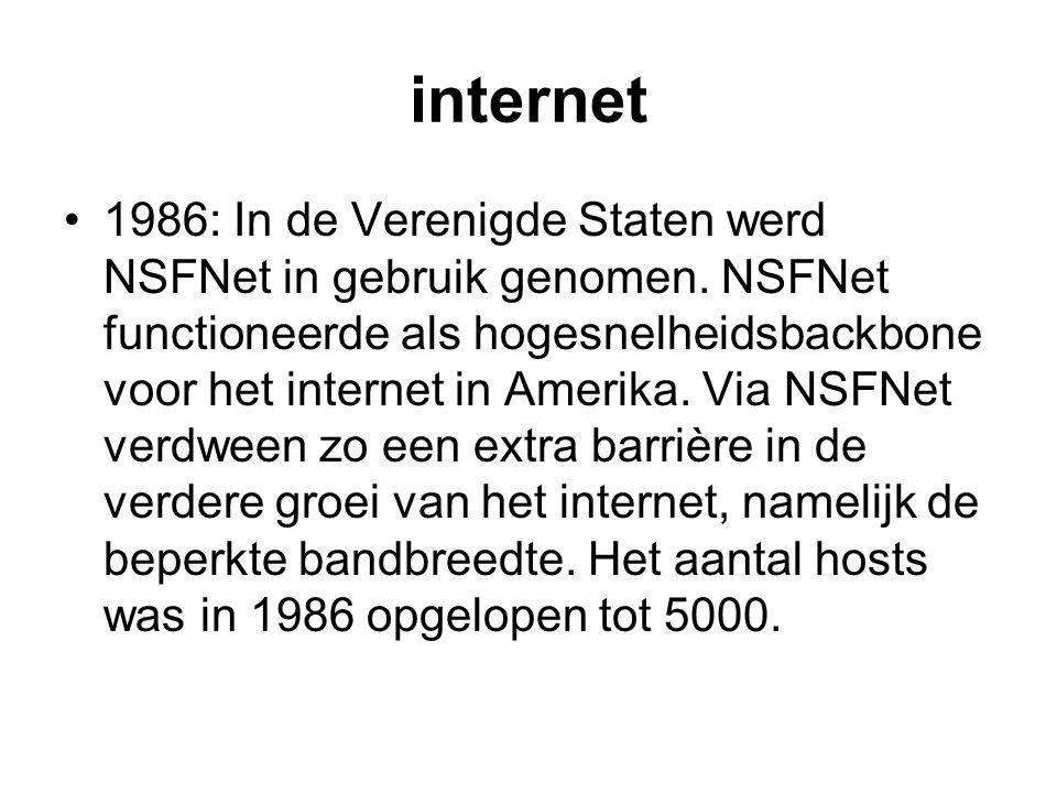 internet 1986: In de Verenigde Staten werd NSFNet in gebruik genomen. NSFNet functioneerde als hogesnelheidsbackbone voor het internet in Amerika. Via