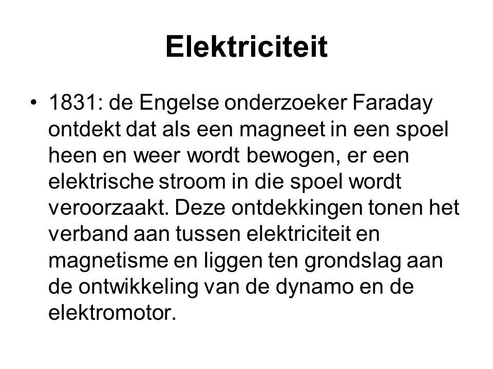 Elektriciteit 1831: de Engelse onderzoeker Faraday ontdekt dat als een magneet in een spoel heen en weer wordt bewogen, er een elektrische stroom in d