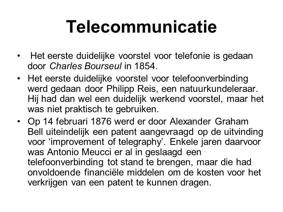Telecommunicatie Het eerste duidelijke voorstel voor telefonie is gedaan door Charles Bourseul in 1854. Het eerste duidelijke voorstel voor telefoonve