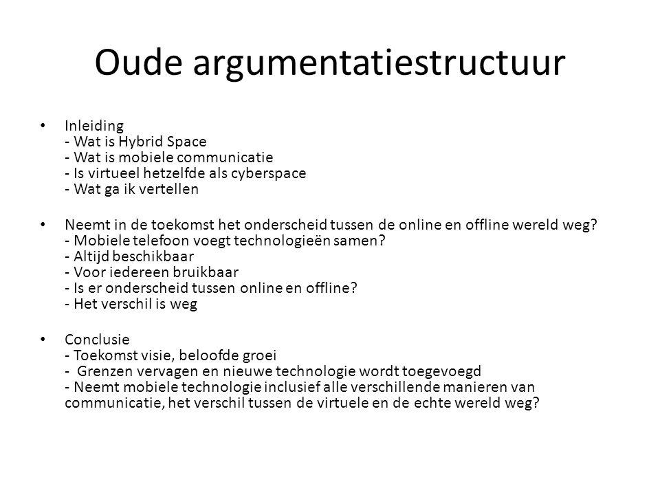 Oude argumentatiestructuur Inleiding - Wat is Hybrid Space - Wat is mobiele communicatie - Is virtueel hetzelfde als cyberspace - Wat ga ik vertellen Neemt in de toekomst het onderscheid tussen de online en offline wereld weg.