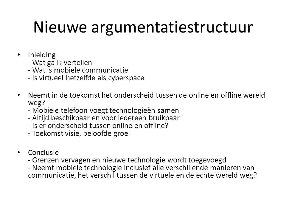 Nieuwe argumentatiestructuur Inleiding - Wat ga ik vertellen - Wat is mobiele communicatie - Is virtueel hetzelfde als cyberspace Neemt in de toekomst het onderscheid tussen de online en offline wereld weg.