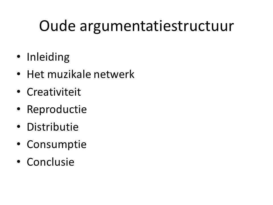 Oude argumentatiestructuur Inleiding Het muzikale netwerk Creativiteit Reproductie Distributie Consumptie Conclusie