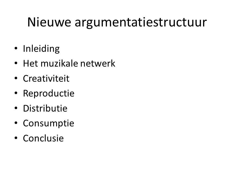 Nieuwe argumentatiestructuur Inleiding Het muzikale netwerk Creativiteit Reproductie Distributie Consumptie Conclusie