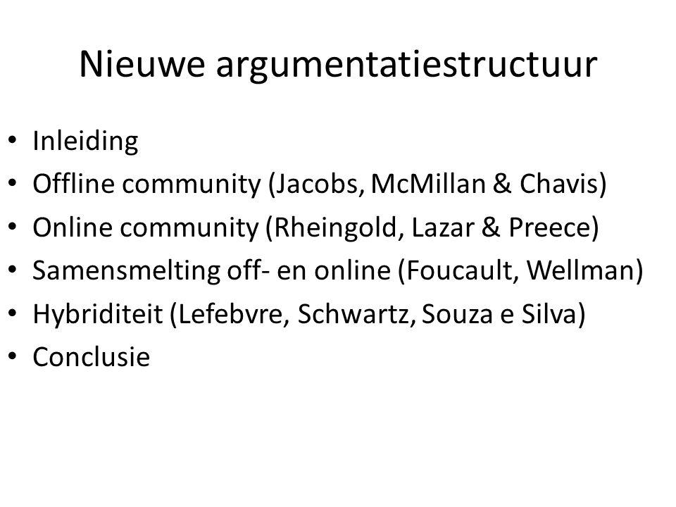 Nieuwe argumentatiestructuur Inleiding Offline community (Jacobs, McMillan & Chavis) Online community (Rheingold, Lazar & Preece) Samensmelting off- en online (Foucault, Wellman) Hybriditeit (Lefebvre, Schwartz, Souza e Silva) Conclusie