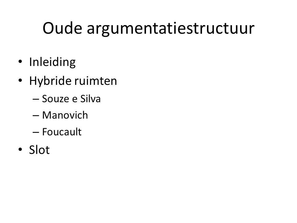 Oude argumentatiestructuur Inleiding Hybride ruimten – Souze e Silva – Manovich – Foucault Slot
