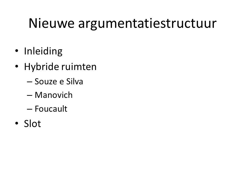 Nieuwe argumentatiestructuur Inleiding Hybride ruimten – Souze e Silva – Manovich – Foucault Slot