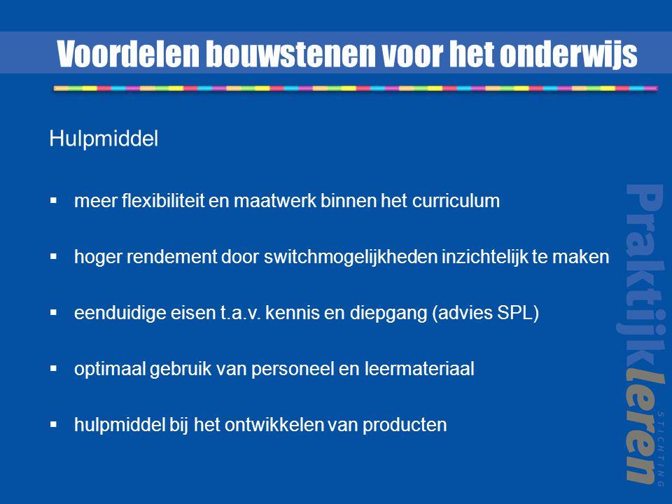 Hulpmiddel  meer flexibiliteit en maatwerk binnen het curriculum  hoger rendement door switchmogelijkheden inzichtelijk te maken  eenduidige eisen t.a.v.