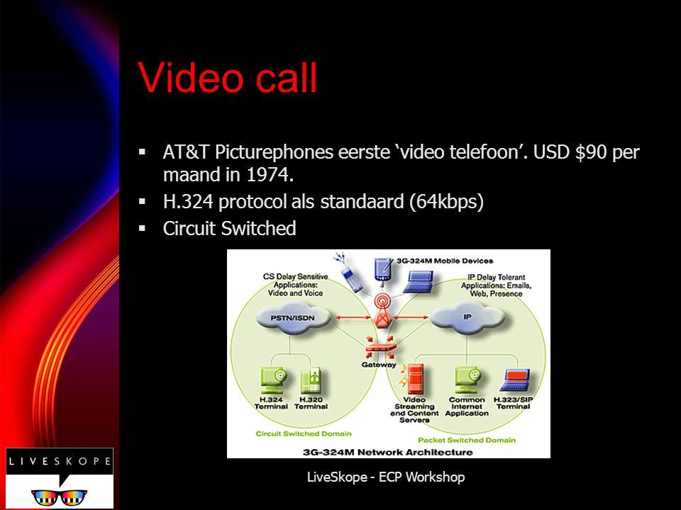 LiveSkope - ECP Workshop Video streaming (PS)  H.323  Voor packet networks  Geen 'dedicated line' zoals bij Circuit Switched
