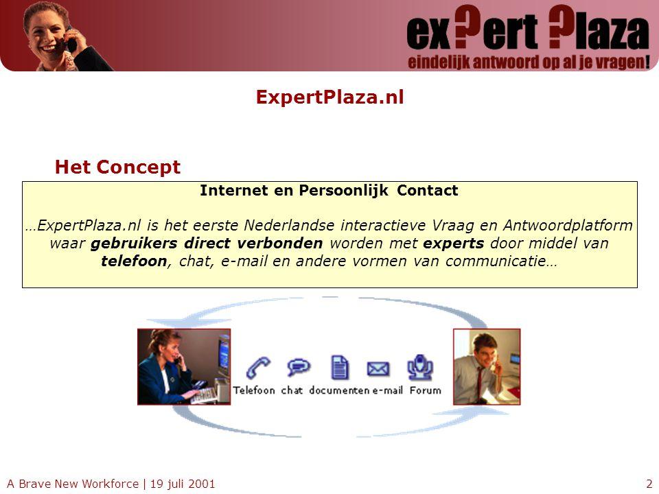 A Brave New Workforce | 19 juli 20012 ExpertPlaza.nl Internet en Persoonlijk Contact …ExpertPlaza.nl is het eerste Nederlandse interactieve Vraag en A