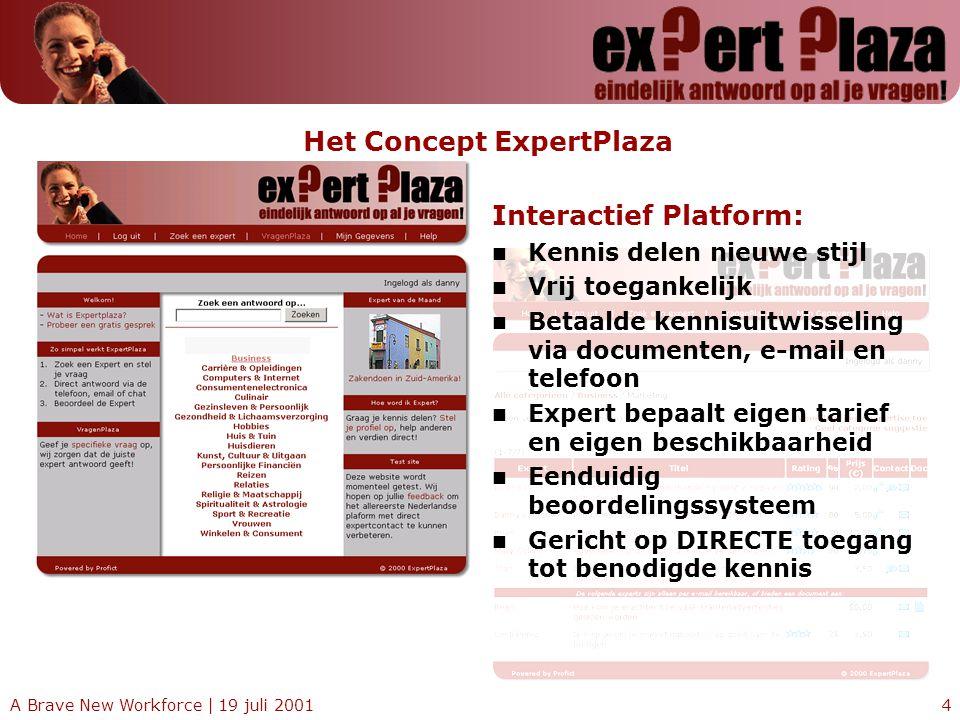 A Brave New Workforce | 19 juli 20014 Het Concept ExpertPlaza Interactief Platform: Kennis delen nieuwe stijl Vrij toegankelijk Betaalde kennisuitwiss
