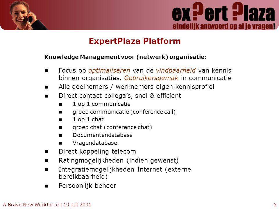 A Brave New Workforce | 19 juli 20016 ExpertPlaza Platform Focus op optimaliseren van de vindbaarheid van kennis binnen organisaties. Gebruikersgemak