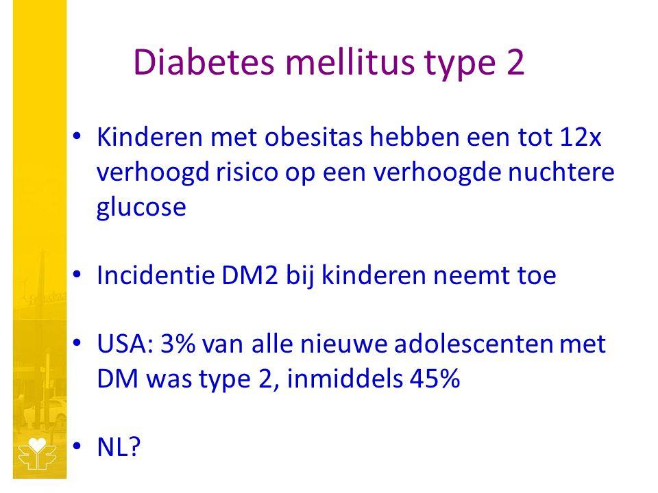 Diabetes mellitus type 2 Kinderen met obesitas hebben een tot 12x verhoogd risico op een verhoogde nuchtere glucose Incidentie DM2 bij kinderen neemt toe USA: 3% van alle nieuwe adolescenten met DM was type 2, inmiddels 45% NL?