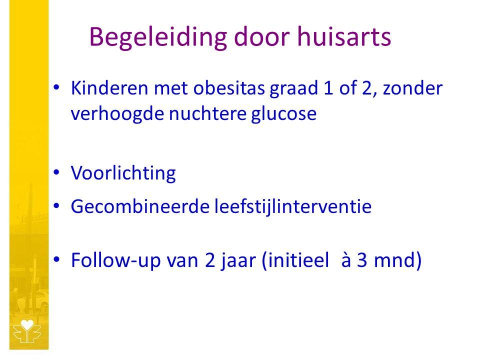 Begeleiding door huisarts Kinderen met obesitas graad 1 of 2, zonder verhoogde nuchtere glucose Voorlichting Gecombineerde leefstijlinterventie Follow-up van 2 jaar (initieel à 3 mnd)