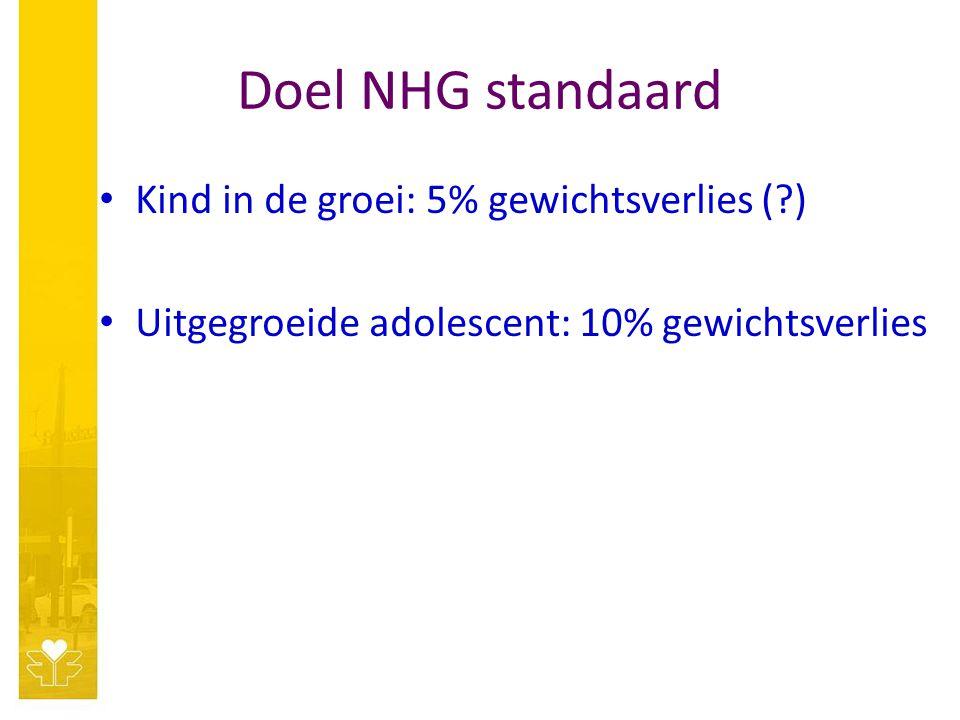 Doel NHG standaard Kind in de groei: 5% gewichtsverlies (?) Uitgegroeide adolescent: 10% gewichtsverlies