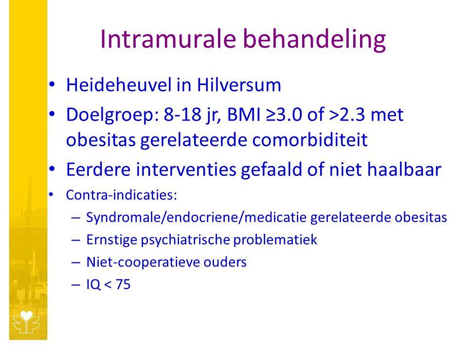 Intramurale behandeling Heideheuvel in Hilversum Doelgroep: 8-18 jr, BMI ≥3.0 of >2.3 met obesitas gerelateerde comorbiditeit Eerdere interventies gefaald of niet haalbaar Contra-indicaties: – Syndromale/endocriene/medicatie gerelateerde obesitas – Ernstige psychiatrische problematiek – Niet-cooperatieve ouders – IQ < 75