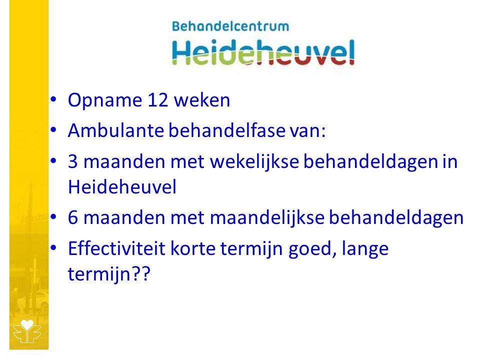 Opname 12 weken Ambulante behandelfase van: 3 maanden met wekelijkse behandeldagen in Heideheuvel 6 maanden met maandelijkse behandeldagen Effectiviteit korte termijn goed, lange termijn??