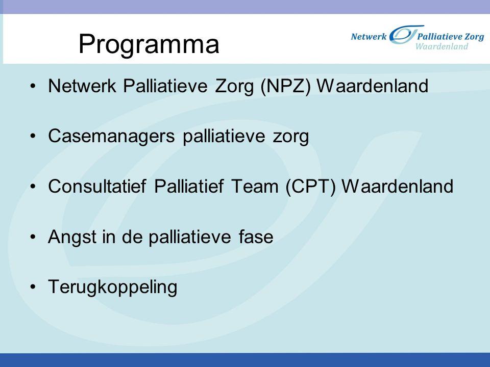 Programma Netwerk Palliatieve Zorg (NPZ) Waardenland Casemanagers palliatieve zorg Consultatief Palliatief Team (CPT) Waardenland Angst in de palliatieve fase Terugkoppeling