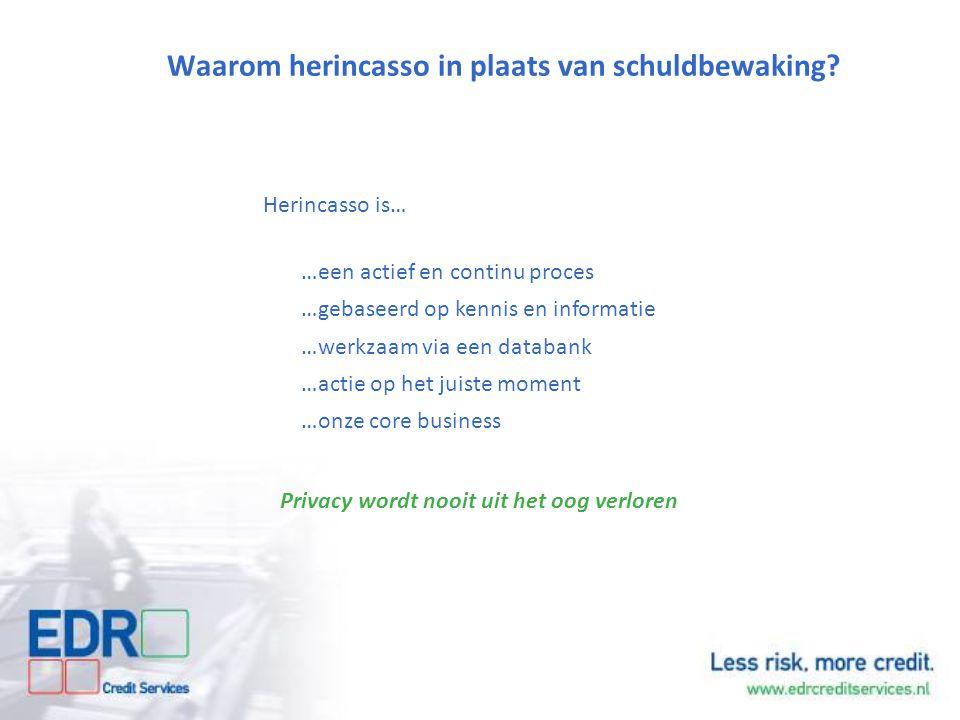 Waarom herincasso in plaats van schuldbewaking? Herincasso is… …een actief en continu proces …gebaseerd op kennis en informatie …werkzaam via een data