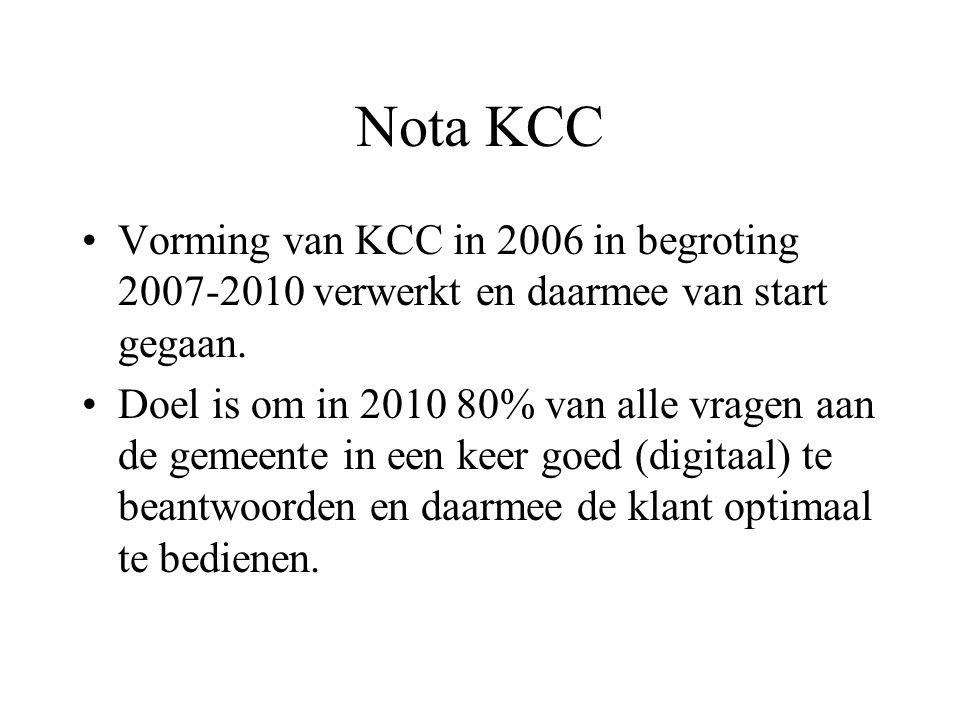 Nota KCC Vorming van KCC in 2006 in begroting 2007-2010 verwerkt en daarmee van start gegaan.