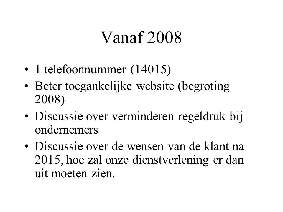 Vanaf 2008 1 telefoonnummer (14015) Beter toegankelijke website (begroting 2008) Discussie over verminderen regeldruk bij ondernemers Discussie over de wensen van de klant na 2015, hoe zal onze dienstverlening er dan uit moeten zien.